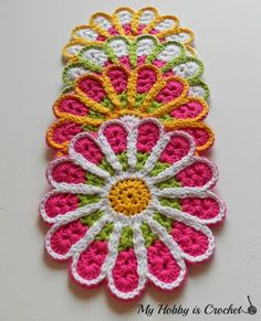 My Hobby Is Crochet: Chrysanthemum / Flower Coaster – Free Crochet Pattern Review