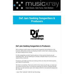 Def Jam Seeking Songwriters & Producers  DM or Inbox Me For Link