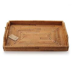 Hand-Woven-Rattan-Rectangular-Serving-Tray-with-Handles-for-Breakfast-Drinks-Snack-for-Coffee-Table-17x114inches-Natural