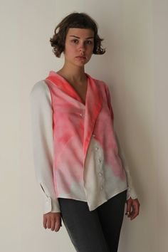 P S h i r t Women's Silk Blouse Hand Dyed White Pink Vintage Geometric Silk Buttoned Button Up Draped Silk Blouse Dress Shirt Wedding Formal...