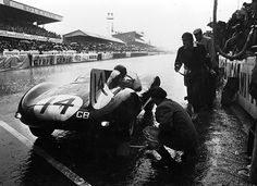 1954 Le Mans Pit Stop for Tony Rolt and Duncan Hamilton in a Jaguar D-Type at Le Mans, 1954.