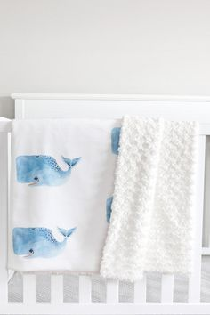 Whale Nursery Set // Fitted Crib Sheet Organic Baby by littlewoolf