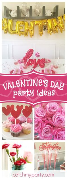 Check out this fun Valentine's Day galentine's party!! The table settings are so cute!! See more party ideas and shrae yours at CatchMyParty.com #partyideas #catchmyparty #galentines #valentinesday