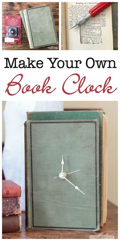 Ever wonder what to do with old books that no one wants to read? Save them from the landfill with this easy and clever DIY project that turns an old hardback book into a working clock! upcycling Upcycle It: Make a Clock from an Old Book Diy Old Books, Old Book Crafts, Recycled Books, Make A Clock, Diy Clock, Upcycled Crafts, Book Clock, Book Lamp, Diy Projects To Sell