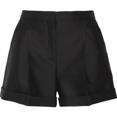 Valentino - Wool And Silk-blend Shorts ($495) ❤ liked on Polyvore featuring shorts, black, wool shorts, fold over shorts and cuffed shorts