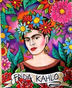 Frida Kahlo Artwork, Frida Kahlo Portraits, Kahlo Paintings, Frida Art, Folk Art Flowers, Flower Art, Arte Pallet, Fridah Kahlo, Arte Latina