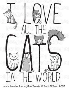 Whimsical words, kitty cat Love art <3
