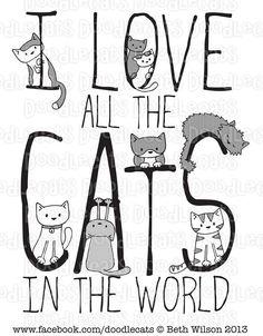 Whimsical words, kitty cat Love art <3