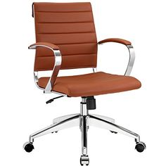 LexMod Jive Ribbed Mid Back Executive Office Chair, Terracotta Vinyl