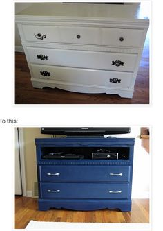 Turn an old dresser into a new TV stand. I need this for my guest room.