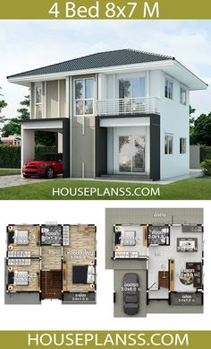 House design Plans Idea with 4 BedroomsThe House has:Building size (m X m) : x size (Sq.m) : size (Square wah) : 33 Two Story House Design, 2 Storey House Design, House Front Design, Small House Design, Modern House Design, 4 Bedroom House Plans, Beach House Plans, Family House Plans, Dream House Plans