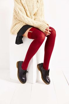 Lightweight Button-Rib Over-The-Knee Sock