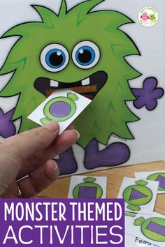 Try these fun monster activities for preschool. Teach letters, sounds, rhymes, color and shapes with this printable set.perfect for Halloween & beyond. Monster Activities, Monster Crafts, Preschool Songs, Alphabet Activities, Group Activities, Shape Activities, Toddler Activities, Halloween Activities For Kids, Halloween Themes