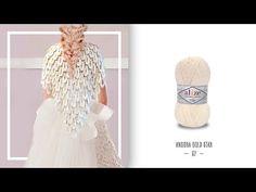 Alize Angora Gold Star ile Gelin Şalı Yapımı-Making Bride Shawl with Ali. Crochet Bra, Crochet Poncho, Knitted Shawls, Crochet Scarves, Diy Paso A Paso, Knitting Patterns, Poncho Shawl, Prayer Shawl, Shawl Patterns
