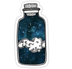"""""""Galaxy in a Jar"""" Stickers by megangilleyxo Tumblr Stickers, Cool Stickers, Printable Stickers, Laptop Stickers, Galaxy Jar, Homemade Stickers, Snapchat Stickers, Kawaii Doodles, Journal Stickers"""