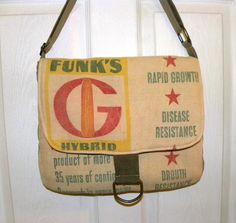 Vintage Funk Brothers corn seed sack upcycled by LoriesBags