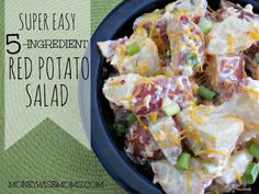 Super Easy 5-Ingredient Red Potato Salad (I'd probably drop the bacon and opt for a replacement or go w. turkey bacon!)