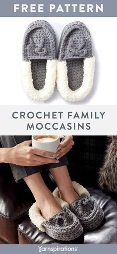 Free Bernat Crochet Family Moccasins pattern using Bernat Softee Chunky and Bernat Pipsqueak yarns. Everyone knows you've got to keep your toes warm, so crochet these must-have slippers and line with cozy Bernat Pipsqueak. Crochet Sandals, Chunky Crochet, Crochet Slippers, Crochet Gifts, Free Crochet, Knit Crochet, Crochet Ideas, Crochet Shark, Crochet Projects