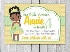 Disney's Princess and the Frog, Tiana Birthday Invitation Printable File.