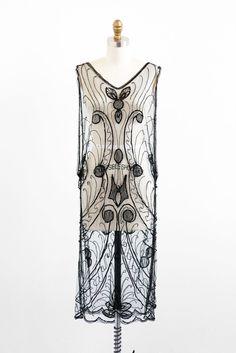 vintage 1920s dress / flapper dress / Sheer Black Beaded Great Gatsby Dress