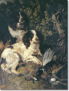 Working Spaniels. John Emms - The Days Bag 1887.