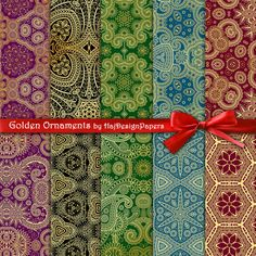 Golden Ornaments - Digital Collage Sheet, Digital Paper, Printable Paper, Scrapbook Paper, Decoupage Paper, Oriental Patterns, Gold