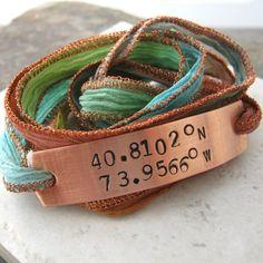 Latitude Longitude Wrap Bracelet, hand dyed silk ribbon in terracotta twist, choose metal and gps coordinates, plz read listing