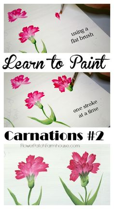 Easy Paint Carnations in Acrylics Learn how to Paint Carnations 2 Paint carnations one stroke at a time using a flat brush. Easy and fun FlowerPatchFarmho The post Easy Paint Carnations in Acrylics appeared first on Diy Flowers. One Stroke Painting, Tole Painting, Fabric Painting, Painting & Drawing, Painting Flowers, Easy Flowers To Paint, Paint Fabric, Fabric Art, Simple Flower Painting