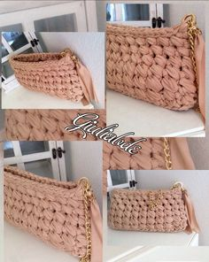 Pochette!!! Diy Handbag, Diy Purse, Crochet Handbags, Crochet Purses, Crochet T Shirts, Knit Crochet, Crochet Wallet, Homemade Bags, Crochet Symbols