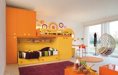 Beautiful kids bedroom design with orange color... | Visit : roohome.com  #bedroom #bed #bedroomdesign #design #decoration #amazing #awesome #great #gorgeous #fabulous #interior #creative #unique