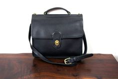Vintage Coach Willis Bag, Black Leather, Satchel Purse, Briefcase Style, Top Handle Long Strap, 1990s United States, iPad Purse -- I purchased mine on Ebay recently and had it fixed up and reconditioned at the local shoe shop.