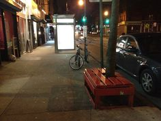 Tree Pit Bench in front of Joes Pizza - 349 5th Avenue, Brooklyn, NY - Photo: Mike Lydon