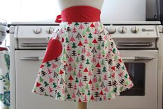 Retro Apron for Holidays--so adorable! Christmas Time Is Here, Christmas Love, All Things Christmas, Vintage Christmas, Christmas Aprons, Christmas Crafts, Christmas Skirt, Favorite Holiday, Holiday Fun