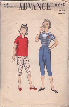 MOMSPatterns Vintage Sewing Patterns - Advance 6930 Vintage 50's Sewing Pattern DARLING Girls Rockabilly Style Italian Sailor Collar Shirt Blouse, High Waisted Pin Up Full Hips Knee Knockers Capri Pants