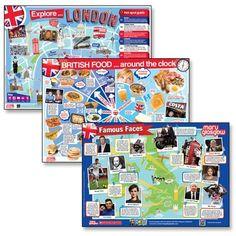Zestaw 3 plakatów edukacyjnych do nauki języka angielskiego.