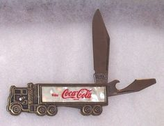 Vintage Coca-Cola Mother of Pearl Truck Pocket Knife/Bottle Opener Colonial USA