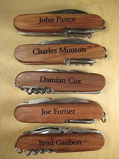 5 Personalized Engraved Wood Pocket Knife Knives Groomsman Ring Bearer Gift