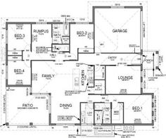 Floor Plan House Design - 4 Bedrooms, Theatre Room, Internal Laundry, 2 Bathrooms, Rumpus Room, Large Patio, Walk-in Kitchen Pantry, Storage. Download the plan specs and inclusions. Design Copyright to Grady Homes in Australia.