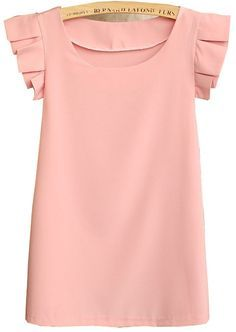 Pink Round Neck Pleated Short Sleeve Chiffon Blouse