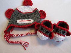 Baby sock monkey hat booties gray red white by BestDressedBaby