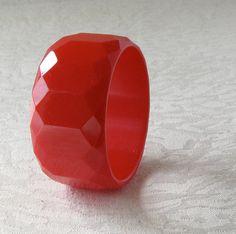 1940's Red Bakelite 1 7/16 wide Bracelet by ArtAttique, $165.00