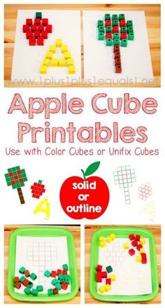 Free Apple Cube Printables ~ Use with Color Cubes or Unifix Cubes - great for apple theme in Tot School, Preschool & Kindergarten Preschool Apple Theme, Fall Preschool, Preschool Apples, Toddler Preschool, Kindergarten Apple Theme, Preschool Ideas, Preschool Jungle, Autumn Activities, Math Activities