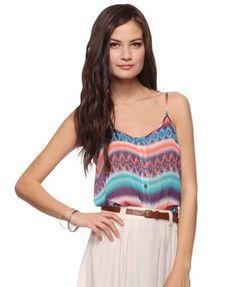 """Model's height is 5'10"""" and wears a size Small.           Abstract Pattern Top w/ Tie  $17.80"""