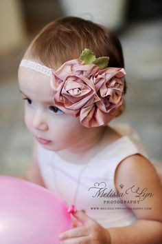 Flower Girl Headband, Headband, Pink Flower Headband, MANY Colors to choose from Pink, Blue, Orange, Purple, Green, Turquoise, Yellow