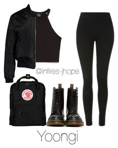 """""""Studying with Yoongi"""" by infires-jhope on Polyvore featuring Fjällräven, Topshop, Zara, Sans Souci and Dr. Martens"""