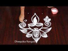 Amazing 5 dots deepam rangoli designs | muggulu | kolam designs - YouTube Easy Rangoli Designs Diwali, Rangoli Designs Flower, Rangoli Patterns, Small Rangoli Design, Rangoli Designs With Dots, Rangoli With Dots, Simple Rangoli, Lotus Mandala Design, Diwali Drawing