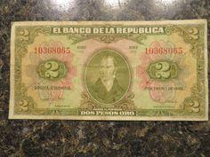 1955 COLOMBIA 2 PESO NOTE