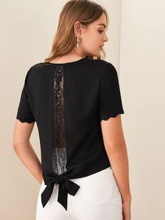 Shein Tie Back Lace Trim Scalloped Top Shirt Bluse, Clothing Hacks, Sewing Clothes, Refashion, Types Of Sleeves, Blouse Designs, Blouses For Women, Lace Trim, Fashion Dresses
