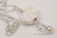 $40   Wedded Bliss Heart Charm Necklace - Handmade Lampwork Glass Beads BASTILLE BLEU - SRA Pastel Yellow Heart Florals Pearl Cross Sterling Silver