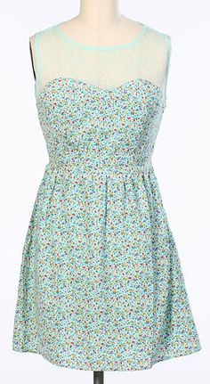 Blue & Rainbow Dot Illusion Neck Dress